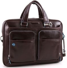 Piquadro Blue Square Kurzgrifflaptoptasche mit Tablet-Fach mahogany
