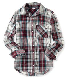 Long Sleeve Plaid Woven Shirt -