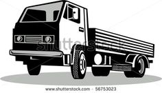 vector illustration of a Truck viewed from a low angle isolated on white background #truck #retro #illustration