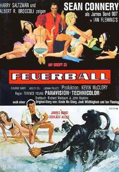 James Bond Thunderball German movie poster. Art by Robert McGinnis. Sean Connery
