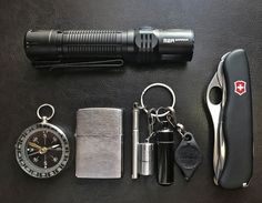 My new M2R hiking and camping EDC  submitted by Oscar Rodriguez  Olight M2R  Zippo Brushed Chrome Lighter  Victorinox Swiss Army One Hand Trekker NS Pocket Knife  LRI FMW Photon Freedom LED Keychain Micro-Light White Beam  True Utility Telepen Telescopic Pen  The World's Smallest Kerosene Lighter! Height 2.5cm/φ 1.3cm Capsule Lighter Portable Metal Miniature EDC Gear Waterproof Tiny Peanut Lighter (Fuel not included) (Black)  True Utility TU241B-P CashStash  Never leave the city without…