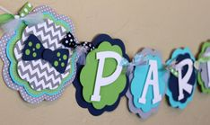 Little Man Bow Tie Chevron Stripe Polka Dot NAME or IT'S A BOY Banner Navy Blue Gray Turquoise Green Baby Shower Birthday Party Decoration on Etsy, $28.00