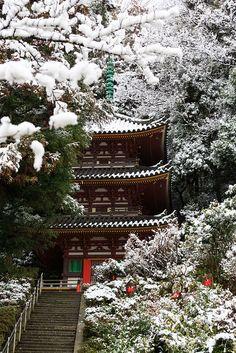 Such a serene setting. Snow in Pagoda, Nara, Japan