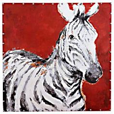 "Zebra Art $249.95 Forget blending in. We think this zebra painting should hide in plain sight, adding an exotic touch to an office, study or game room. Depicted on a contrasting red background, this black and white guy is all fly, and available only at Pier 1.        Red/black/white/silver      48""W x 2.50""D x 48""H      Cotton canvas, paint, metal      Keep out of direct sunlight      Exclusively Pier 1 Imports"