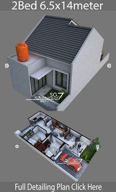 2 Bedrooms Home design Plan - Home Ideas - House Architecture Micro House Plans, Small House Plans, House Floor Plans, Small House Design, Modern House Design, Bungalow Haus Design, Modern Minimalist House, House Blueprints, Trendy Home