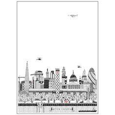 Charlene Mullen's London poster design shows the London skyline behind Tate…