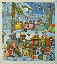 vintage Advent calendar, Germany, illus by Eva Schmidt, from Laboe., Died in 2002