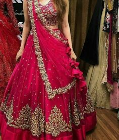 Brides Who Gave Us Anazing Bridal Look Call/WhatsApp us for Purchase or More information : Indian Lehenga, Half Saree Lehenga, Lehnga Dress, Bridal Lehenga Choli, Red Lehenga, Indian Bridal Sarees, Bridal Dress Indian, Lehenga Wedding Bridal, Indian Outfits