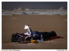 Sam McConnell prepares for a night under the stars, White Desert. Photo: Quintin Lake