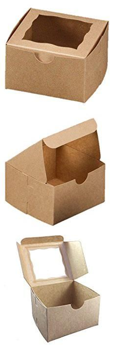 Pastry Containers. Brown Bakery Box With Window 4x4x2.5 inch - 25 Pack - Eco-Friendly Paperboard Take Out Gift Boxes for Pastries, Cookies, Cupcakes, and more - by California Containers.  #pastry #containers #pastrycontainers