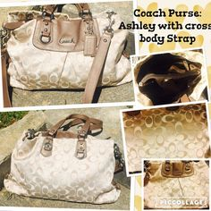 "Authentic Coach Ashley Style Beige Satin Purse This is an authentic Coach purse:  Ashley style.  The fabric is a satin beige of contrasting lighter and darker tones. The leather trim is a metallic beige or pewter.  This purse is in very good condition, but there are several ""pick"" marks towards the bottom of the silk.  The insides are flawless.  This is a beautiful purse from a smoke and pet free home.  We are moving, so please check out my other items.  Lots of authentic bags, straight from…"