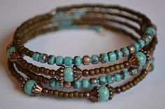 Turquoise and Brown Memory Wire Bracelet Boho Wrap - if Megan helped me. skip the memory wire and make on 1 bracelet Turquoise Jewelry, Boho Jewelry, Jewelry Crafts, Beaded Jewelry, Jewelery, Jewelry Design, Light Turquoise, Jewelry Ideas, Turquoise Bracelet