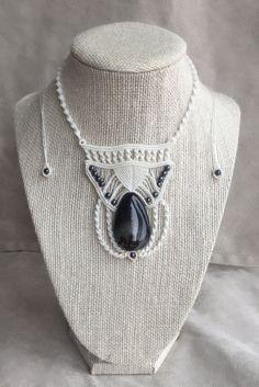Elegant Black Sardonyx and Hematite Macrame Necklace by PrettyKnotsnBeads on Etsy