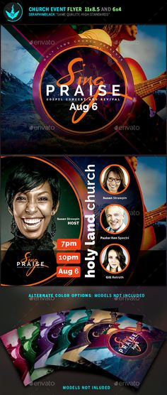 Sing Praise Gospel Concert Flyer Template (models not included)  Do you need a unique church flyer template that's perfect for your event? This one comes with a clean but modern design. It has spaces for guests, and important information. You'll find this file well organized and easy to use with its front and back layout. You'll have a great eye catching presentation when printed or posted to social media sites.#flyertemplate #church #concert #conference