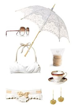 retrosun vintage gucci sunglasses | white emma battenburg lace parasol, brollies galore | chloé scalloped bikini, 305.861.1909 | macarons, martha stewart | aurélie bidermann fortalezza 18-karat gold-plated shell drop earrings