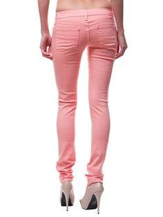 Candy Color Denim Skinny via Poplooks