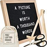 Venture Scout Felt Letter Board 1010 inch Oak Frame with Black Felt Set Includes 364 Changeable White Letters and Characters Drawstring Canvas Bag Adjustable Wood Stand and Craft Scissors