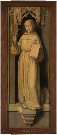 """""""San Bernardino de Siena"""", reverso de """"Zacarías"""", Jan Provost, hacia 1510"""