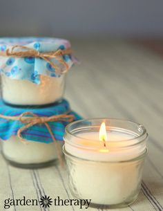 handmade gift idea - mason jar candles with natural wax and scents