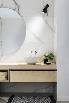 Marble and plywood bathroom design. Interior - by IDAS Interior design architecture studio Interior Design Images, Contemporary Interior Design, Bathroom Interior Design, Interior Design Living Room, Interior Ideas, Kitchen Interior, Interior Inspiration, Bathroom Vanity Lighting, Bathroom Styling