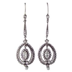 Gorgeous Platinum Old European Cut Diamond Drop Earrings   From a unique collection of vintage drop earrings at http://www.1stdibs.com/jewelry/earrings/drop-earrings/