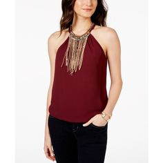 Xoxo Juniors' Faux-Suede-Fringe Sleeveless Top featuring polyvore fashion clothing tops burgundy beaded top red singlet sleeveless tops beaded tank boho tops