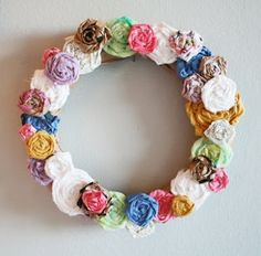 Recycled Roses Wreath Tutorial - perfect little craft for my daughter's wall, I'll have tons of scraps after I make her quilt!
