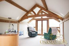 Upstairs office with raised tie trusses to create extra head room - Oakmasters House, Timber Frame Homes, Home, Contemporary, Old Farmhouse, Roof Trusses, Oak, Old Farm Houses, Lounge