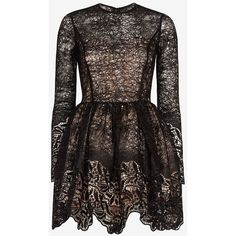 Alexis Malin Embroidered Lace Sequin Frill Flare Dress ($770) ❤ liked on Polyvore featuring dresses, vestidos, short dresses, black, long sleeve black cocktail dress, black sequin dress, black dress, black lace dress and lace dress