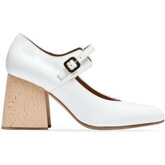 Marni Mary Jane Shoe (2,470 CNY) ❤ liked on Polyvore featuring shoes, natural white, chunky shoes, chunky mary jane shoes, shiny shoes, leather sole shoes and white mary janes