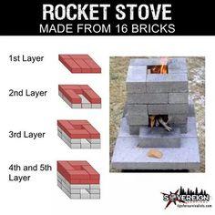 Rocket Stove From Bricks Outdoor Cooking Stove, Outdoor Stove, Outdoor Fire, Outdoor Living, Homestead Survival, Camping Survival, Survival Skills, Survival Shelter, Emergency Preparedness