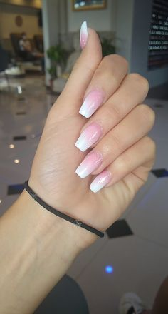 White Tip Acrylic Nails, Acrylic Nails Coffin Ombre, Pink Acrylic Nail Designs, Acrylic Set, Gel Nail Art Designs, Ombre Nail Designs, White Acrylics, Coffin Nails, Pink Ombre Nails