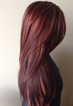 Hair and Beauty: Dark red rich hair color with caramel highlights