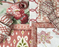 With a combination of soft corals, warmer reds and hints of bright persimmon, Charlotte Moss for Fabricut's Deep Coral palette adds a delicate pop of color in classic designs. Fabric Decor, Fabric Design, Pattern Design, Fabric Combinations, Soft Corals, Coordinating Fabrics, Textiles, Fabric Wallpaper, Fabric Swatches