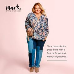 481829deb348e NEW denim with a hint of fringe and plenty of patches. Fashions by Avon Mark