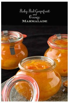 Ruby Red Grapefruit and Orange Marmalade - so fresh and delicious. It's like a jar of sunshine. It's freezer jam so it's super simple, no canning knowledge needed!!