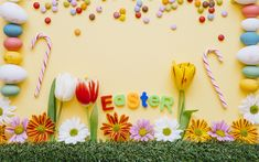 Download wallpapers Easter, decoration, April 1, 2018, spring holiday, tulips, Easter eggs
