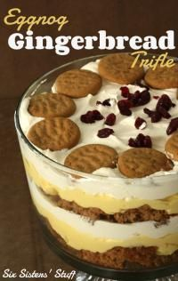 Gingerbread Trifle This Eggnog Gingerbread Trifle from SixSistersStuff.Com is a great combination of holiday flavors!This Eggnog Gingerbread Trifle from SixSistersStuff.Com is a great combination of holiday flavors! Köstliche Desserts, Holiday Baking, Christmas Desserts, Delicious Desserts, Dessert Recipes, Health Desserts, Plated Desserts, Christmas Trifle, Dinner Recipes
