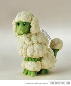Vegetable Poodle -- now, if someone made black cauliflower and broccoli, I could make one like our two dogs. Who, by the way, LOVE cauliflower and broccoli. Odd dogs, I know.