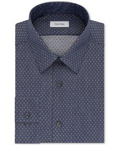 Calvin Klein STEEL Men's Slim-Fit Non-Iron Performance X-Pattern Dress Shirt