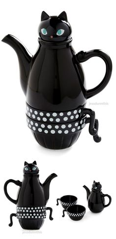 Cat teapot and tea cup set #product_design