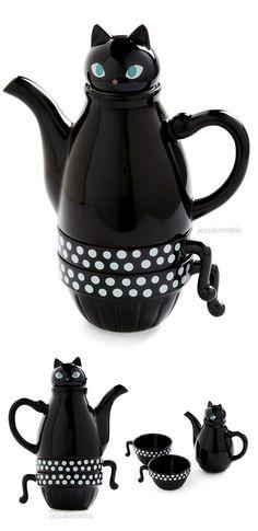 Cat teapot and tea cup set #product_design