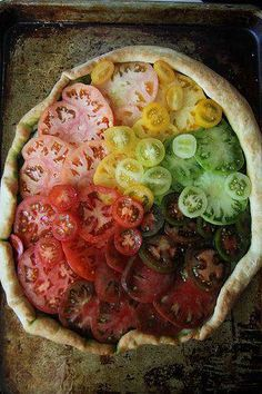 Heirloom Tomato Rainbow. Does God know how to grow them, or what?  what a beautiful picture