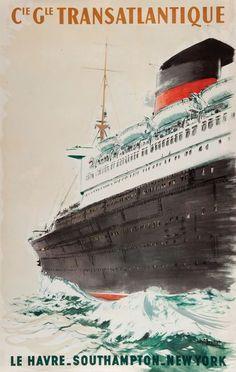 Compagnie Générale Transatlantique - illustration de Albert Brenet - Le Havre-Southampton-New York -