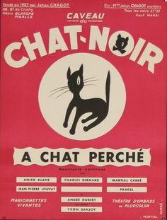 """""""A Chat Perché"""" (Caveau du Chat Noir) vintage French theatrical poster (1950s)"""