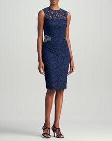 Sleeveless Lace Sheath Dress, Navy