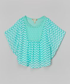 Look at this Speechless Aqua Chevron Circle Top on #zulily today!