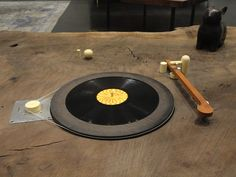 BDDW turntable set into walnut slab http://thegildedowl.com/bddw-tyler-hays/