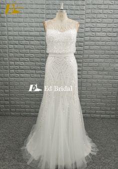 Stunning Beading Tulle Bridal Real Sample Wedding Dress