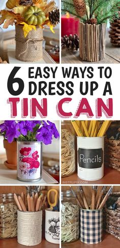 6 Ways To Dress Up A Tin Can (A Cheap & Easy Upcycling Idea) DIY Tin Can Upcycle Projects -- a quick and easy craft idea anyone can make! Great for home decor, home organization and more! Tin Can Crafts, Crafts To Make, Crafts For Kids, Diy Crafts, Creative Crafts, Handmade Crafts, Handmade Rugs, Recycled Tin Cans, Recycled Crafts Kids